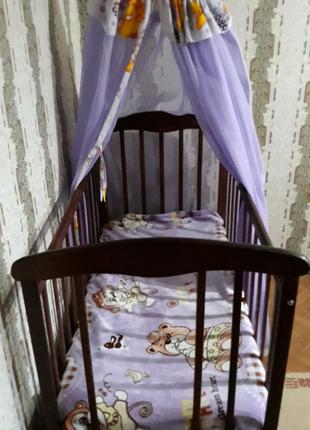 Кроватка для малыша+балдахин+постельное +защита +матрас