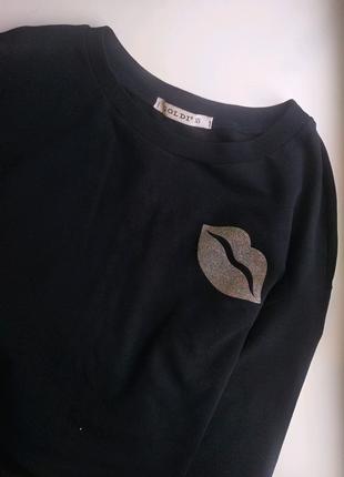 Кофта свитшот Goldi с принтом кофточка реглан черная деловая