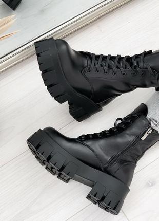 Кожаные демисезонные ботинки на грубой подошве,массивные ботин...