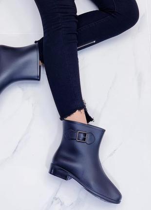❤ женские черные осенние демисезонные резиновые ботинки ❤