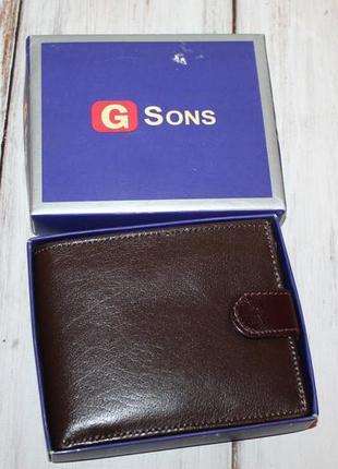Вместительный кожаный кошелек портмоне 100% натуральная кожа