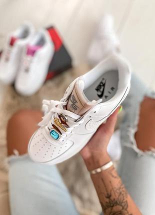 Air force 1 lx white lace beige кроссовки женские найк