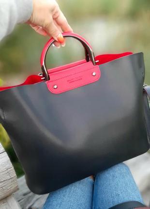 Женская классическая сумка формат а4 черная