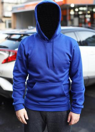 Унисекс утепленная толстовка синего цвета