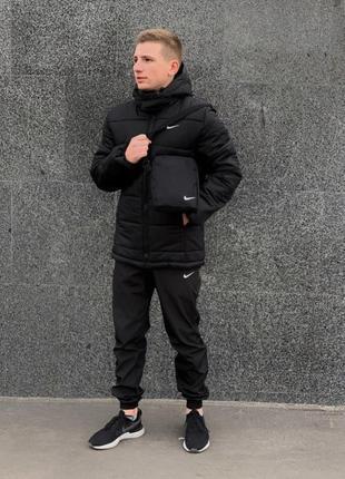 Зимний комплект найк черный + штаны утепленные. барсетка и пер...