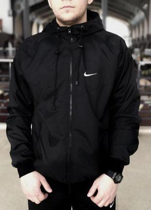 Комплект чёрный ветровка найк (nike) + штаны + барсетка в пода...