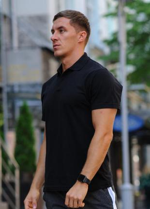 Черная мужская футболка поло