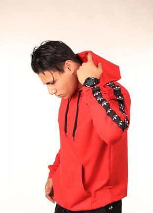 Унисекс. худи красное с чёрно-белыми лампасами adidas