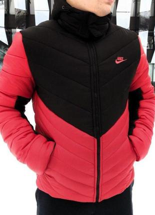 "Зимняя куртка nike, найк,чёрно красная ""трансформер"""