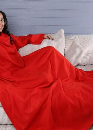 Плед с рукавами 180x150см из флиса красный