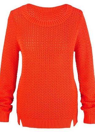 Яркий вязаный ажурный свитер tcm tchibo
