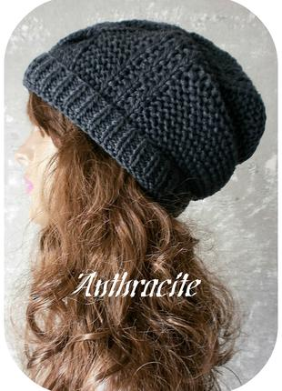 Хлопковая фактурная шапка beanie с отворотом косы антрацит