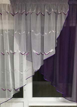 Тюль на кухню фиолетового цвета