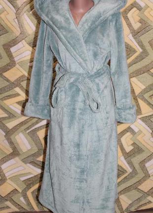 Турция женский длинный халат на запах с капюшоном (мята)