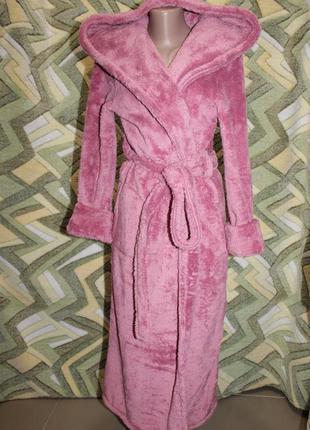 Турция женский длинный махровый халат на запах с капюшоном (ча...