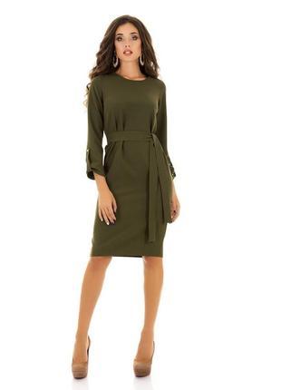 Платье демисезонное миди зеленое хаки с поясом длинным рукавом...