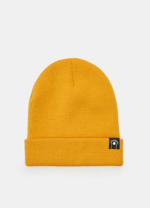 Новая однотонная оранжевая горчичная желтая шапка нашивка лапа...