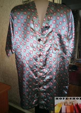 🌙атласная домашняя рубашка, рубашка для сна с коротким рукавом...
