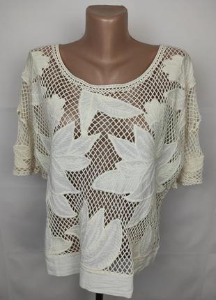 Блуза новая красивая хлопковая сетка вышивка uk 12/40/m