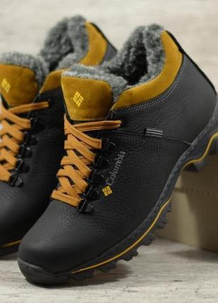 Мужские зимние кожаные ботинки кроссовки на меху