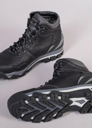 Мужские зимние ботинки черная кожа 💥