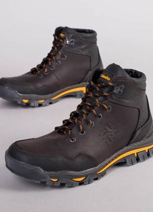Мужские зимние коричневые ботинки кожа 💥