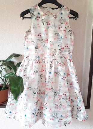 Нарядное пышное платье на девочку george  в цветочный принт вы...