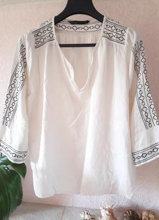 Женская вышиванка блузка zara basic трикотажная с рукавом боль...