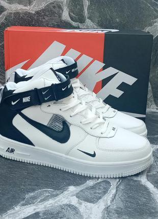 Мужские зимние кроссовки nike air force winter кожаные,белые,с...
