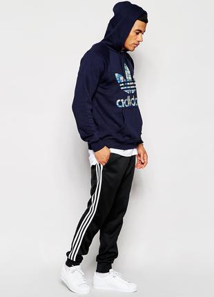 Теплые приталенные спортивные штаны Адидас на флисе Зима Adidas