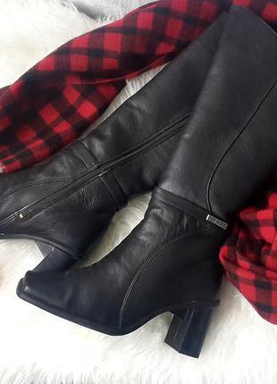 Зимние кожаные сапоги на цигейке, зимние сапоги на каблуке нат...