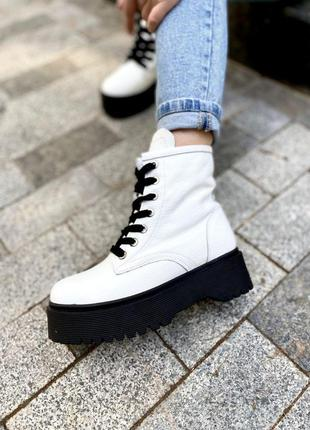 Ботинки белые кожа осень зима