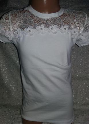 Нарядная футболка блузка на девочку 134р бенини