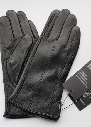 """Женские кожаные перчатки """"stripes"""" черные"""