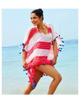 Пляжное платье-туника с кистями