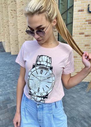 Красивая футболка женская с принтом и вышивкой ♡