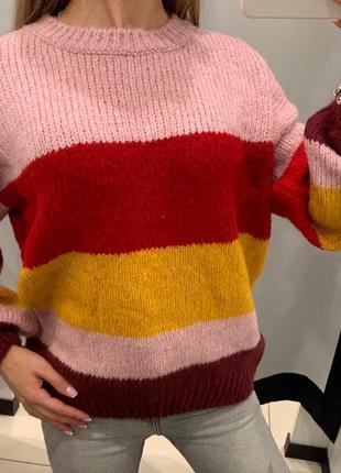 Тёплый свитер в полоску кофта amisu fbsister