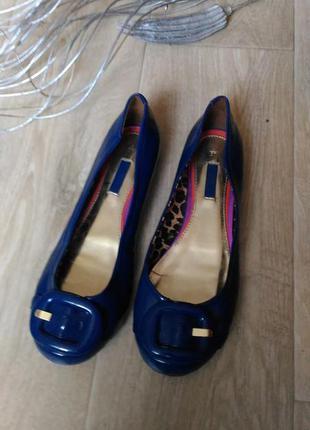 Туфли балетки next синие, цета электрик, размер 37