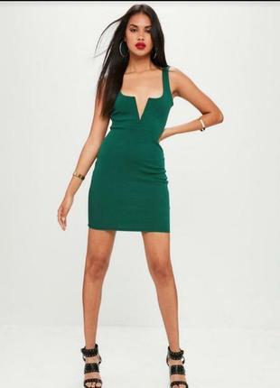 Женское мини изумрудное нарядное вечернее клубное платье летне...
