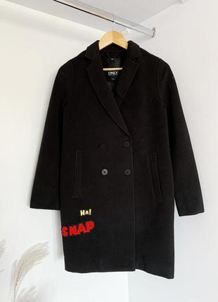 Пальто чорне кокон з написами