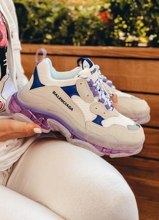 Шикарные трендовые женские кроссовки balenciaga triple s белые...