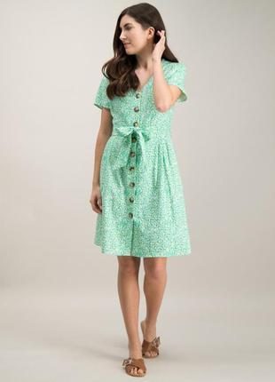 Трендовое льняное чайное платье халат пуговицы принт лимоны xl...