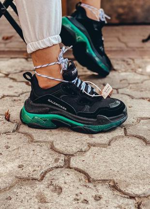 Шикарные трендовые женские кроссовки balenciaga triple s чёрны...