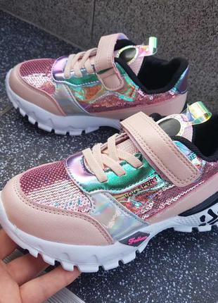 Яркие кроссовки для девочки с паетками кросівки для дівчинки р...
