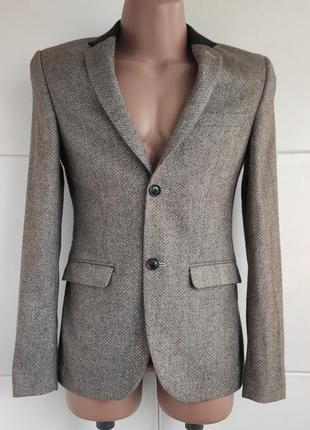 Стильный шерстяной мужской пиджак topman из качественного нату...