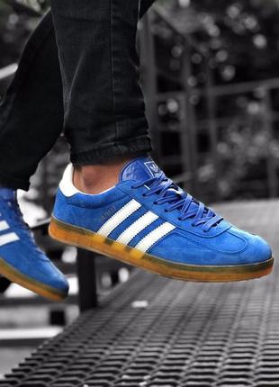 Крутые мужские кроссовки adidas gazelle синие