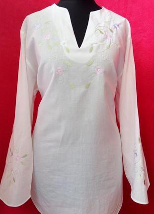 Хлопковая,лёгкая рубашка с вышивкой