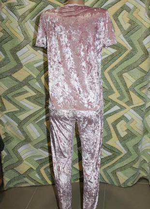 Турция костюм мраморный велюр серый графит и розовая пудра фут...