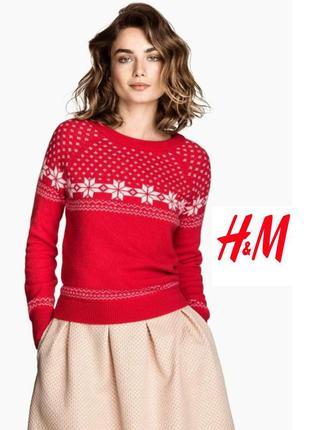 H&m красный свитер/кофта/джемпер с узором