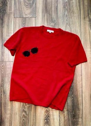 Global шикарный свитер красного цвета с коротким рукавом/шерст...